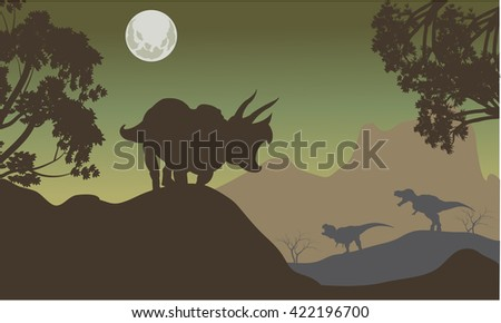 Silhouette of triceratops and baby T-Rex at the night