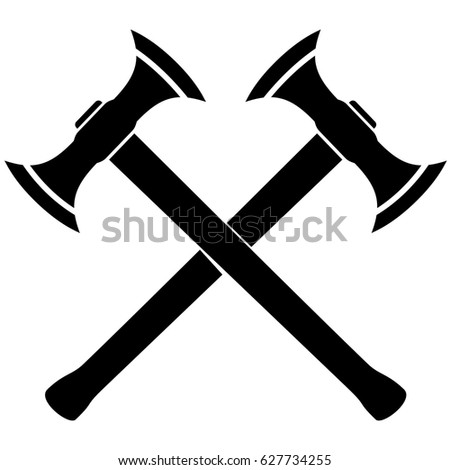 Silhouette of two crossed Medieval Battle Axes. vector illustration