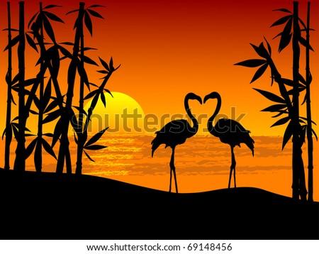 Stock Photo Silhouette of two flamingos on the seaside
