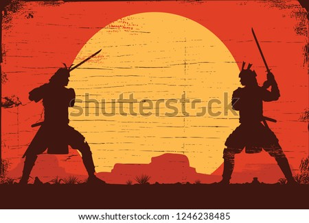 silhouette of two japanese
