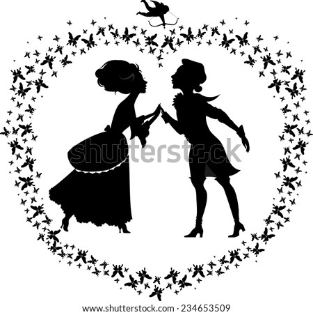 silhouette of two lovers in