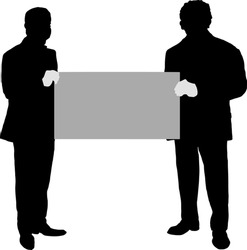 Silhouette of two man holding up a blank giant mock check. Vector illustration.