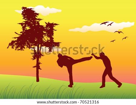 silhouette of two man making kickboxing exercises on summer field near tree, yellow sky - stock vector