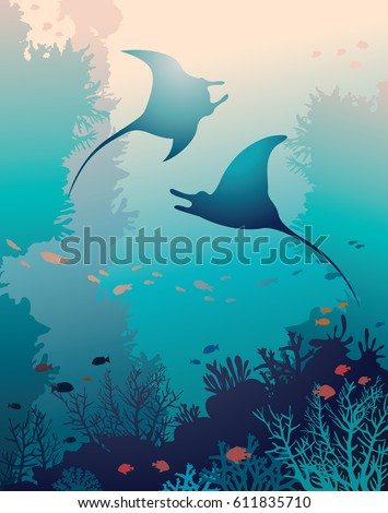 silhouette of two mantas and