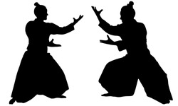 Silhouette of two samurais in duel