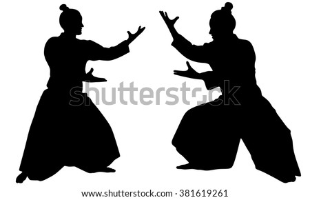 silhouette of two samurais in
