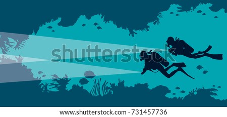 Stock Photo Silhouette of two scuba divers and underwater cave with fishes and corals on a blue sea background. Vector ocean illustration. Marine wildlife and water sport.