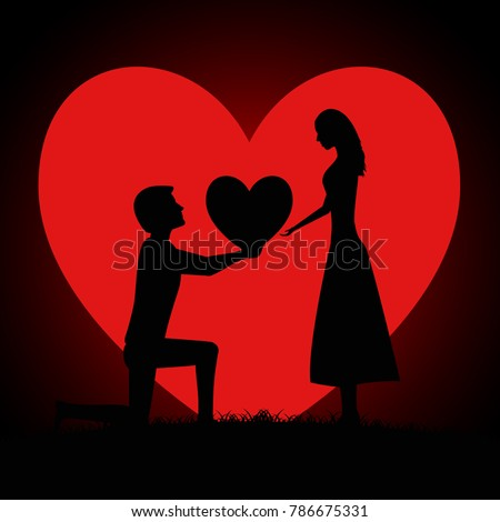 Silhouette of two young lovers on background of the moon in the form of a heart. Man begging a woman for love by giving a big heart.  Valentines Day Card. Vector illustration
