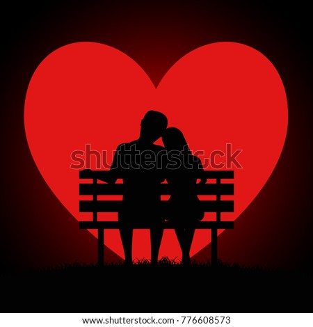 silhouette of two young lovers