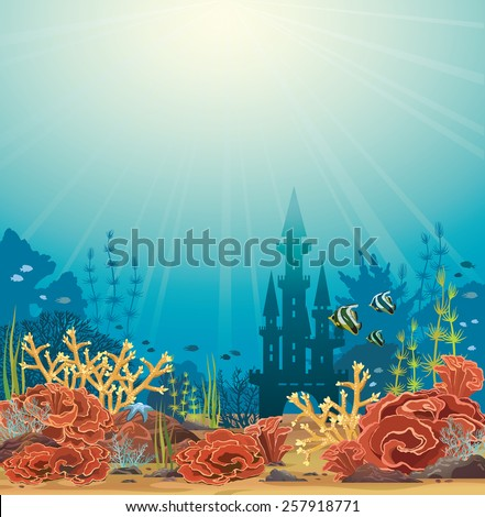 silhouette of underwater castle
