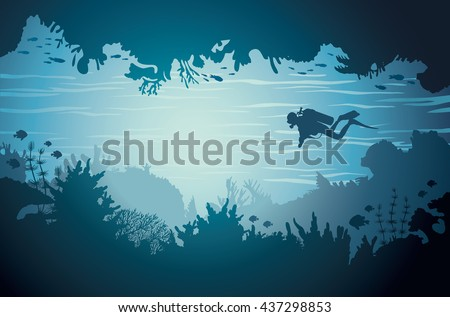 silhouette of underwater sea