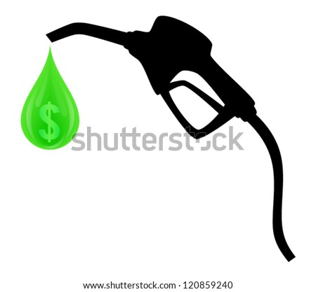 Silhouette of vector gas pump with green drop and symbol of dollar inside isolated on white background