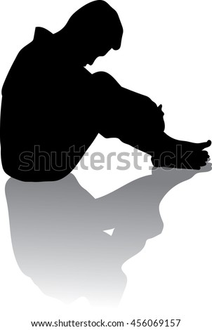 silhouette of very sad young