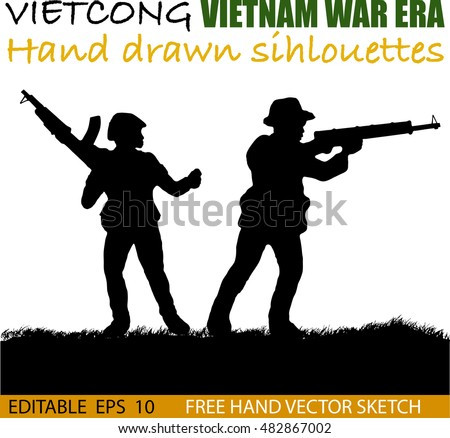 Shutterstock Silhouette of Vietnamese soldier or guerrilla force Circa late 1960's in Vietnam. Artist illustration.