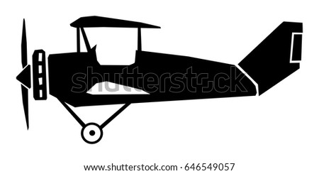 Silhouette Of Vintage Airplane Side View