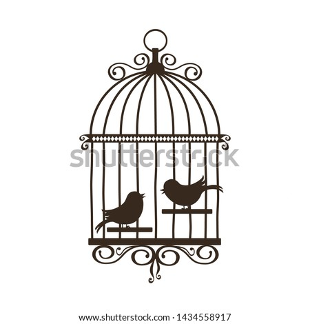 silhouette of vintage birdcage