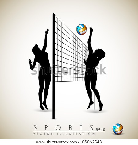 Silhouette of volley ball girls player playing volleyball on abstract background.EPS 10.