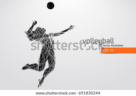 silhouette of volleyball player
