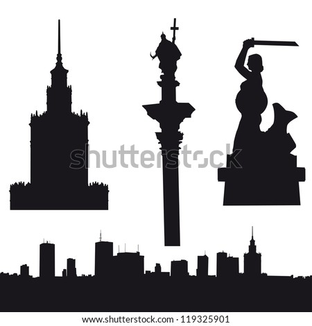 Silhouette of Warsaw in Poland- panorama, Palace of Culture and Since, Sigismund's Column and Warsaw Mermaid. Zdjęcia stock ©