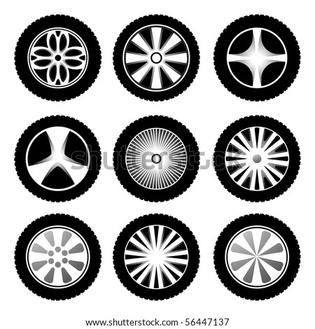 Silhouette of wheels. Vector icon set
