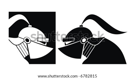 Silhouette of white and black knight. Vector.