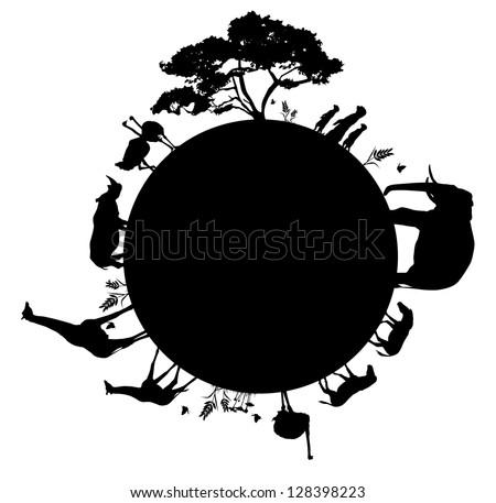 silhouette of wildlife animals