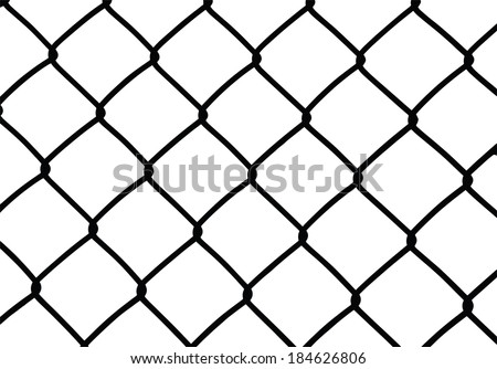 Silhouette of wired fence isolated on white, vector illustration