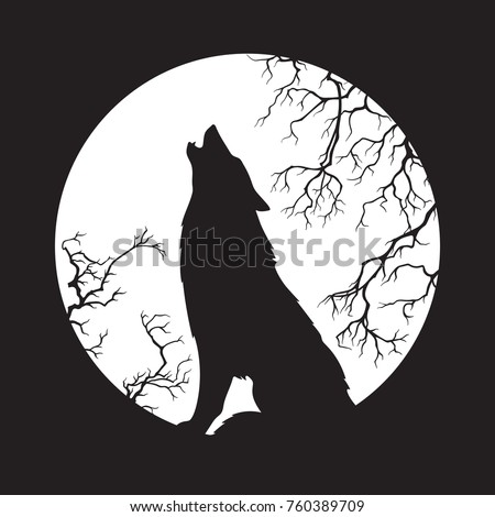 Silhouette of wolf howling at the full moon vector illustration. Pagan totem, wiccan familiar spirit art.