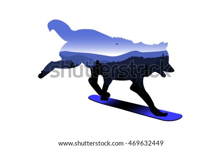 silhouette of wolf on snowboard