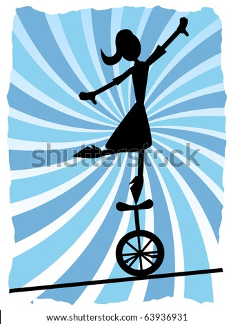 silhouette of woman balancing