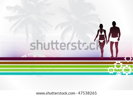 silhouette of young couple having fun summer holiday, vector illustration
