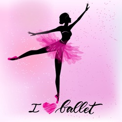 Silhouette of young dancer and modern lettering I love ballet. Can be used for logo, signage, posters and advertising your business, Vector illustration, sketch.