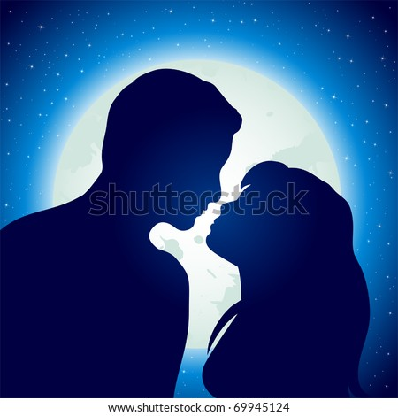 Silhouette of young man and woman in love, illustration