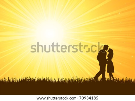 Silhouette of young man and woman on sunburst background, illustration