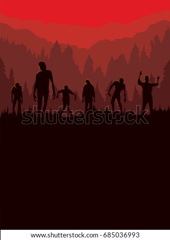 Silhouette of Zombie horde was exiting out of the graveyard at night. Ideal for Halloween theme poster and other.