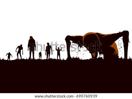 silhouette of zombie hordes
