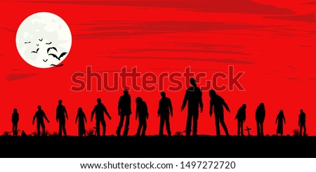 silhouette of zombies walking