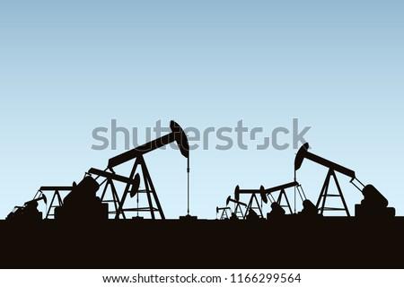 Silhouette oil ring, Sky background. Power energy concept. Vector illustration.