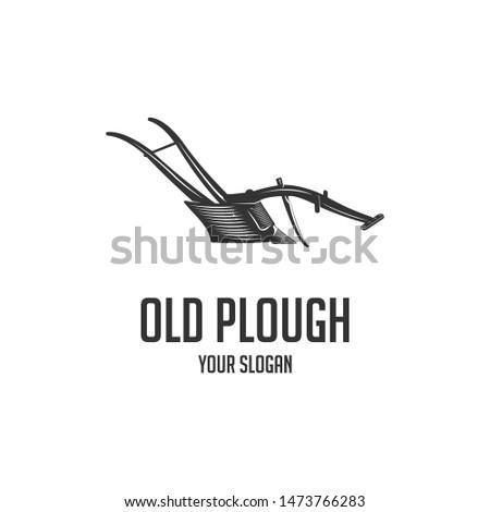 silhouette old plough logo vintage  Сток-фото ©
