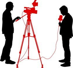 Silhouette operator removes journalist with microphone on a white background