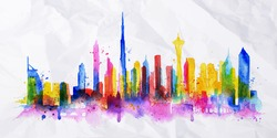 Silhouette overlay city painted with splashes of watercolor drops streaks landmarks in blue with pink