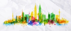 Silhouette overlay city painted with splashes of watercolor drops streaks landmarks with a yellow-green colors