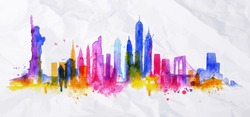 Silhouette overlay city painted with splashes of watercolor drops streaks landmarks with blue violet tones