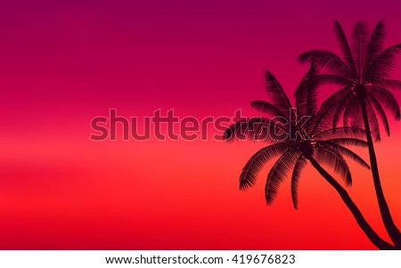 silhouette palm tree and sunset