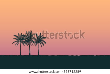 silhouette palm tree in flat