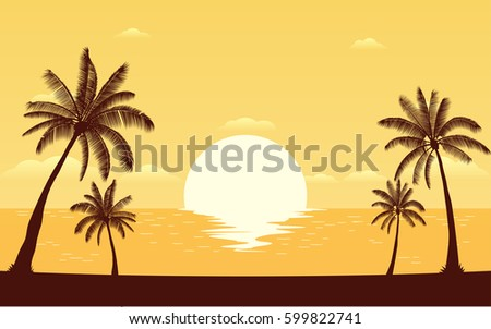 Silhouette palm tree on beach in flat icon design under sunset sky background (vector)