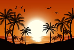 Silhouette palm tree on beach under sunset sky background. Vector illustration