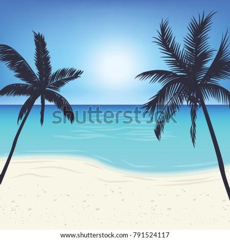 silhouette palm tree on island