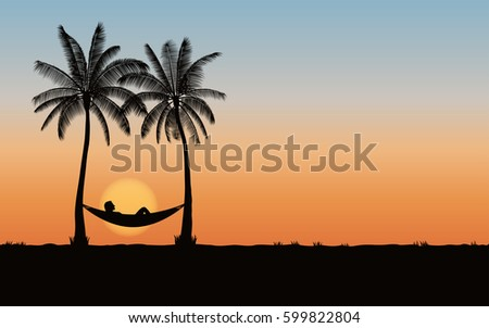 silhouette palm tree with