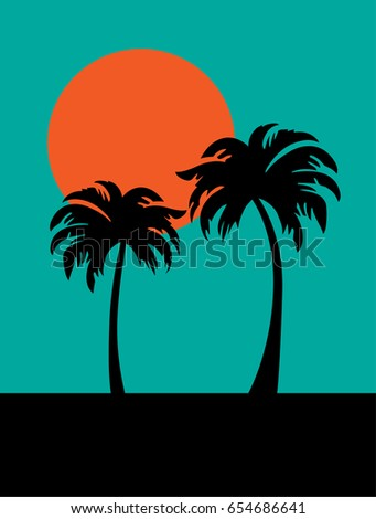 silhouette palm trees and
